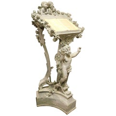 Old Plaster Lectern, Blue Carved with Cherubs, 1900, France