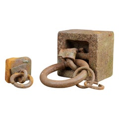 Old Reclaimed Rustic Iron Tether Weights, 20th Century