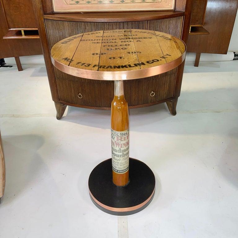 Industrial Old Rip Van Winkle Barrel Head Table For Sale