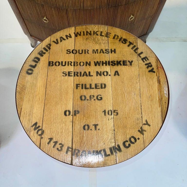 Copper Old Rip Van Winkle Barrel Head Table For Sale