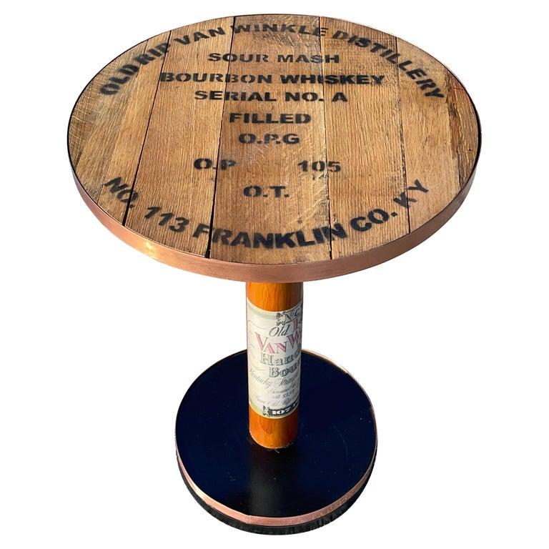 Old Rip Van Winkle Barrel Head Table For Sale