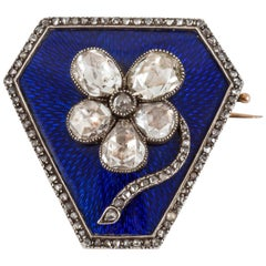 Pansy Brooch of Rose Cut Diamonds on Blue Enamel & Gold, Russian circa 1900