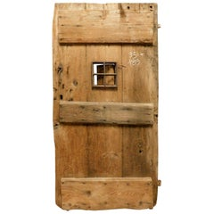 Old Rustic Door in Larch with Window, 19th Century Italy