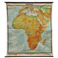 Old School Map Pull-Down Wall Chart Africa Continent Print Poster