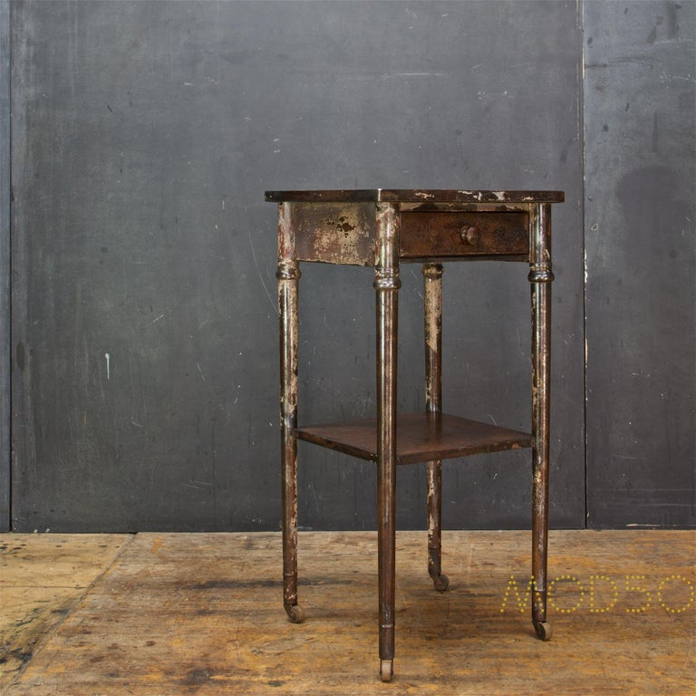 American Old Sea Salvaged Patina Vintage Industrial Metal Tall End Table Petite Simmons For Sale