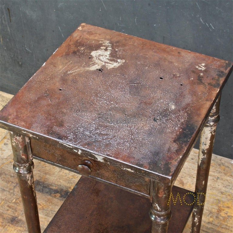 Early 20th Century Old Sea Salvaged Patina Vintage Industrial Metal Tall End Table Petite Simmons For Sale