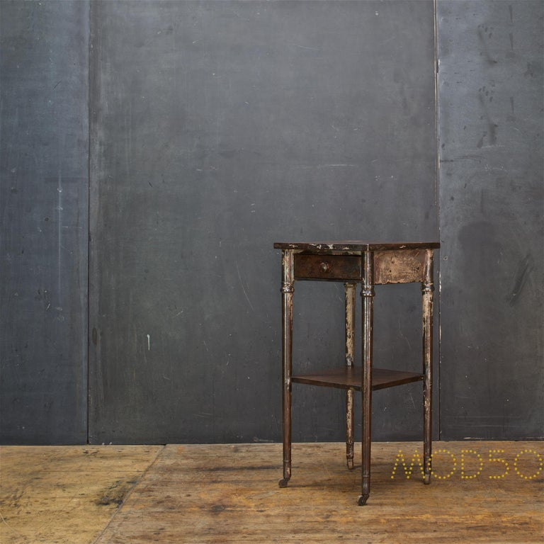 Steel Old Sea Salvaged Patina Vintage Industrial Metal Tall End Table Petite Simmons For Sale