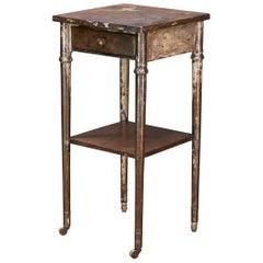 Old Sea Salvaged Patina Vintage Industrial Metal Tall End Table Petite Simmons