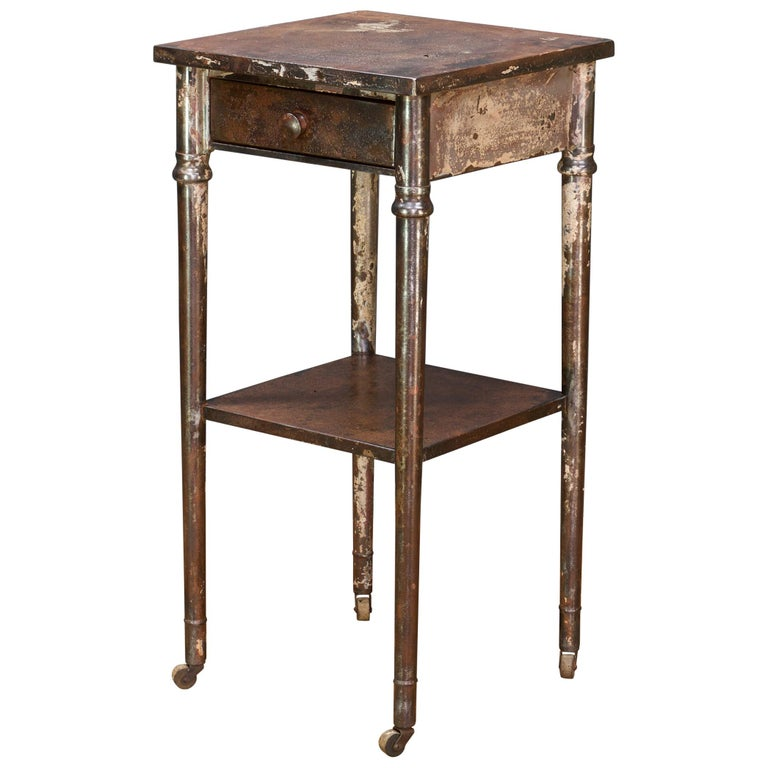 Old Sea Salvaged Patina Vintage Industrial Metal Tall End Table Petite Simmons For Sale