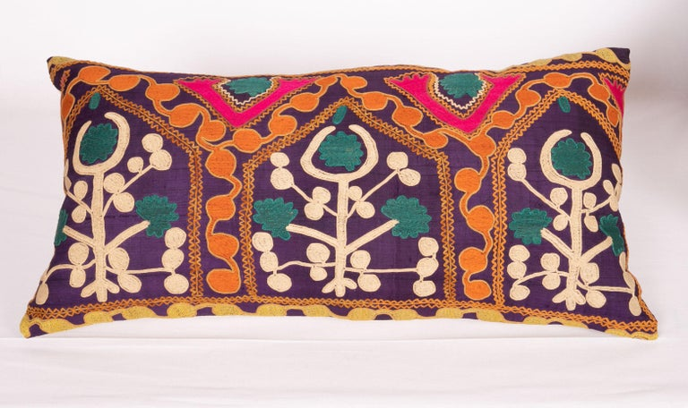 Old Silk Suzani Pillow Cases Made from an Early 20th Century Suzani For Sale 1