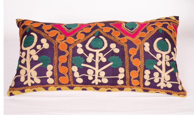 Old Silk Suzani Pillow Cases Made from an Early 20th Century Suzani For Sale 2
