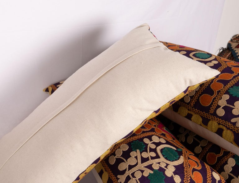 Old Silk Suzani Pillow Cases Made from an Early 20th Century Suzani For Sale 3
