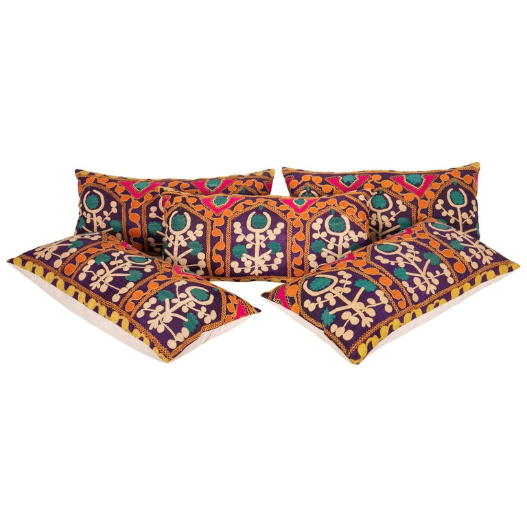 Old Silk Suzani Pillow Cases Made from an Early 20th Century Suzani For Sale