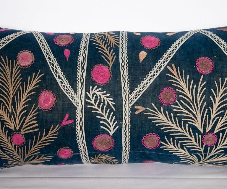 Embroidered Old Silk Velvet Suzani Pillow Case, Uzbekistan, Early 20th Century