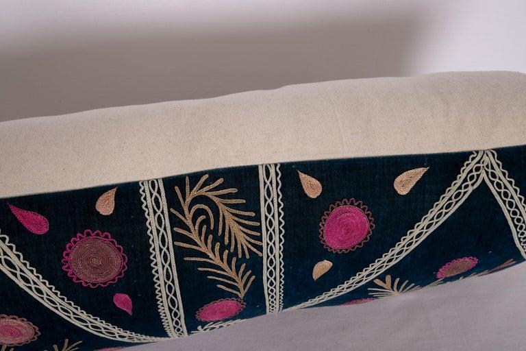 Old Silk Velvet Suzani Pillow Case, Uzbekistan, Early 20th Century 2