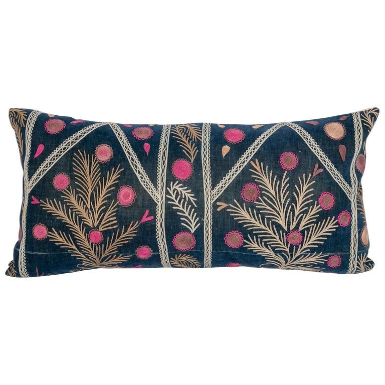 Old Silk Velvet Suzani Pillow Case, Uzbekistan, Early 20th Century