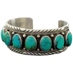 Old Sterling Silver Blue Turquoise Russell Sam Signed Cuff Bracelet Navajo 57.6g