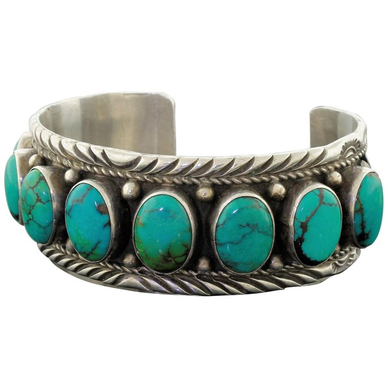 deb1747752a Old Sterling Silver Blue Turquoise Russell Sam Signed Cuff Bracelet Navajo  57.6g For Sale
