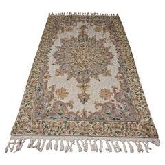 Old Stock 1960s Kashmir Chain Stitch Silk on Cotton Fine Rug Tapestry
