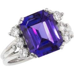 Old-Stock 4.85 Carat Tanzanite in Vintage Diamond and Platinum Custom Ring