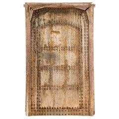 Old Studded Framed Moroccan Door Judas Gate, 20th Century