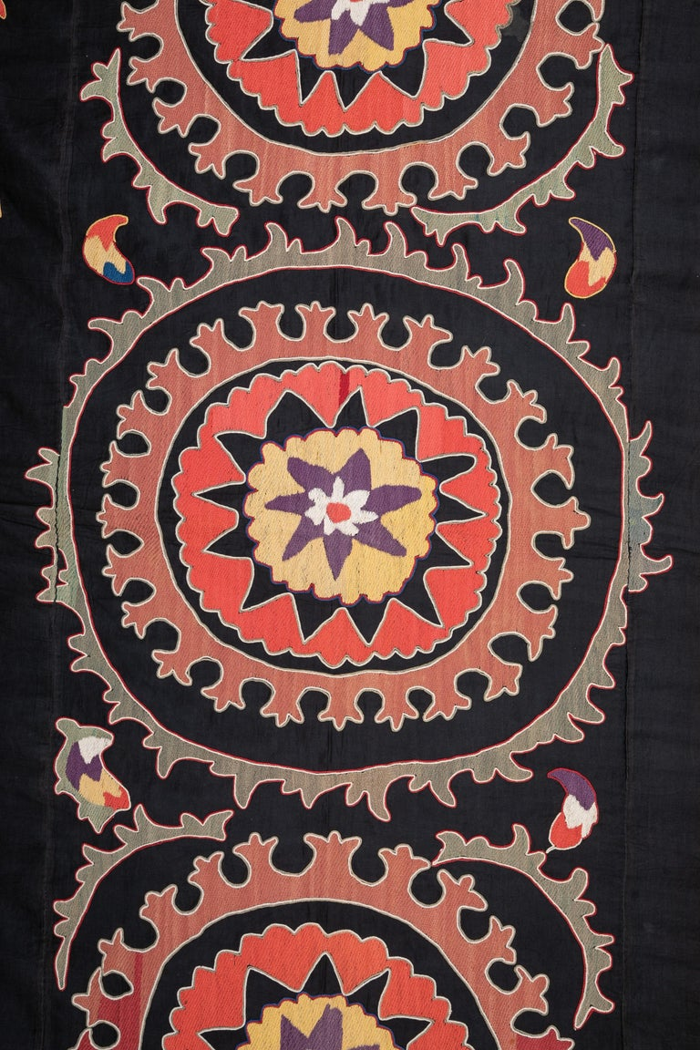 Embroidered Old Suzani from Uzbekistan Central Asia, Silk on Cotton, 1930s For Sale