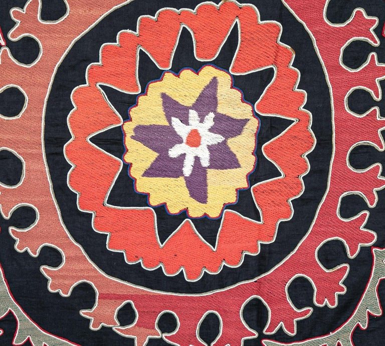 20th Century Old Suzani from Uzbekistan Central Asia, Silk on Cotton, 1930s For Sale