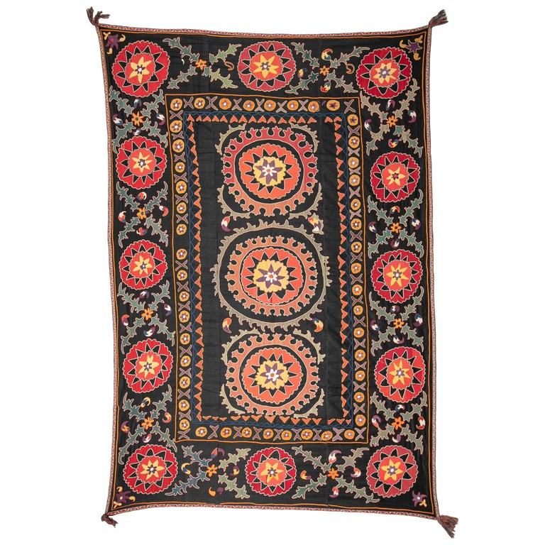 Old Suzani from Uzbekistan Central Asia, Silk on Cotton, 1930s For Sale