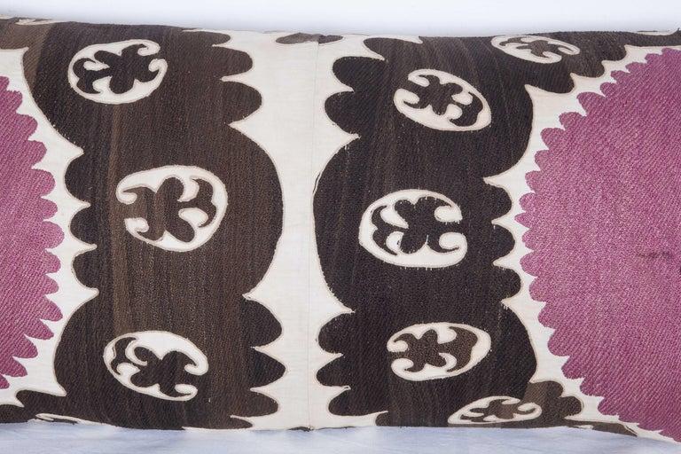 Uzbek Old Suzani Lumbar Pillow Made from an Early 20th Century Samarkand Suzani For Sale
