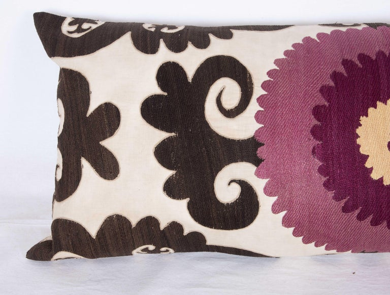 Embroidered Old Suzani Lumbar Pillow Made from an Early 20th Century Samarkand Suzani For Sale