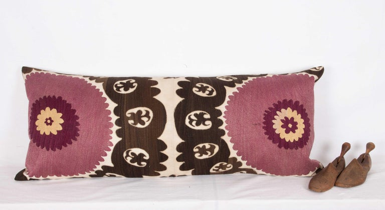 Old Suzani Lumbar Pillow Made from an Early 20th Century Samarkand Suzani In Good Condition For Sale In Istanbul, TR