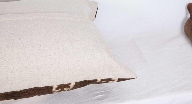 Silk Old Suzani Lumbar Pillow Made from an Early 20th Century Samarkand Suzani For Sale