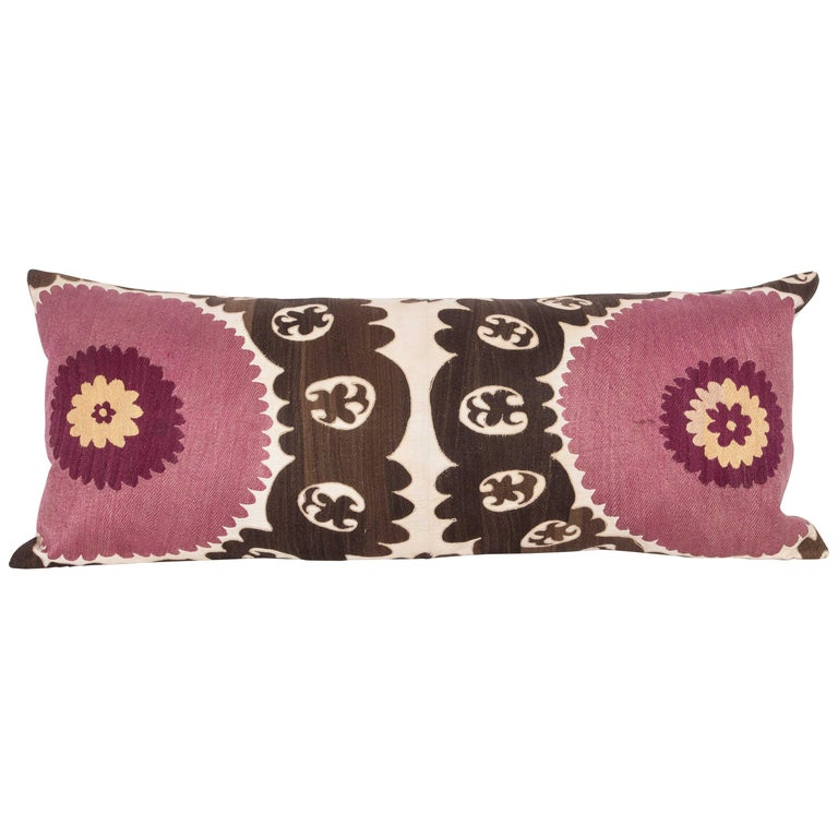 Old Suzani Lumbar Pillow Made from an Early 20th Century Samarkand Suzani For Sale
