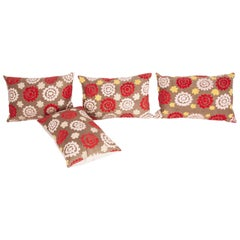 Old Suzani Pillow Cases Fashioned from an Early 20th Century Uzbek Suzani