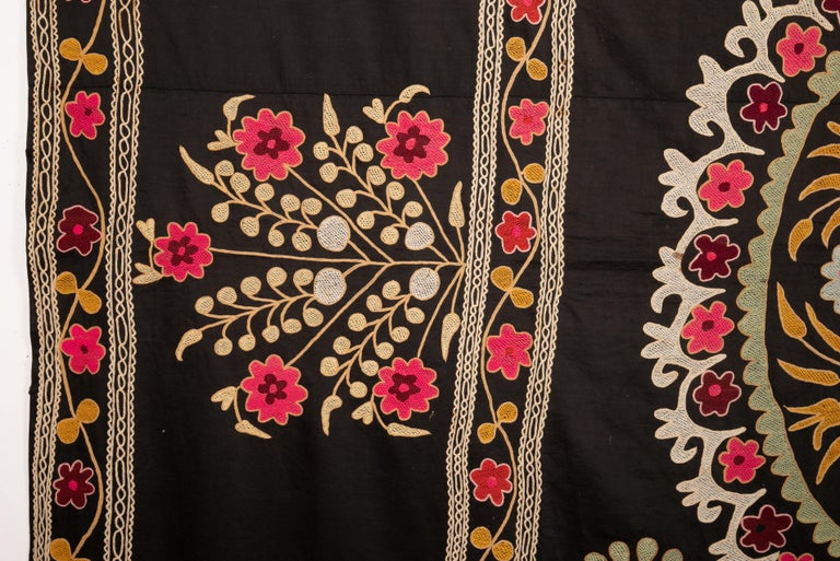 Embroidered Old Suzani with Black Background from Uzbekistan, Central Asia, 1930s For Sale