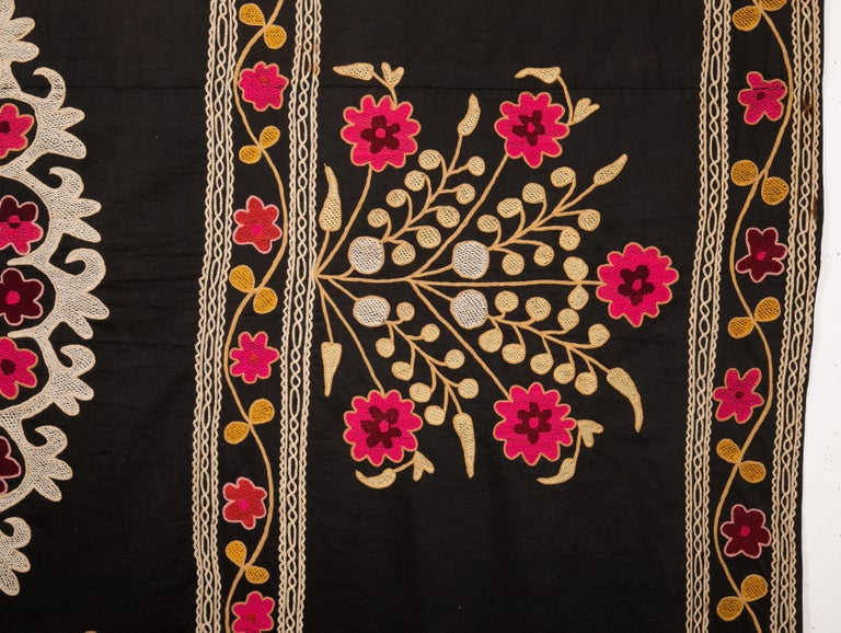 20th Century Old Suzani with Black Background from Uzbekistan, Central Asia, 1930s For Sale