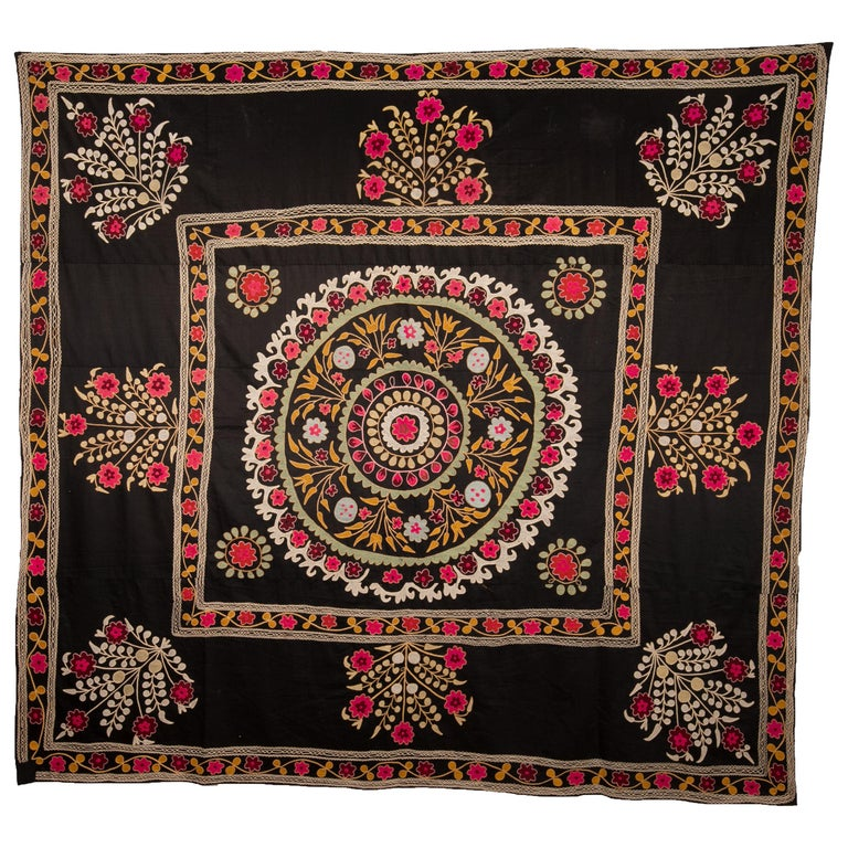 Old Suzani with Black Background from Uzbekistan, Central Asia, 1930s For Sale