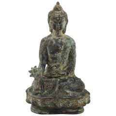 Old Tibetan Bronze Medicine Buddha Statue, Qing Dynasty, Tibet, 18th Century