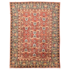"Old Turkish Rug Oushak Design ""Ram's Horns"" with Geometric Figures, circa 1900"