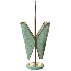 Old Umbrella Stand Mid-Century Italian Design Perforated Metal Brass Gold Green