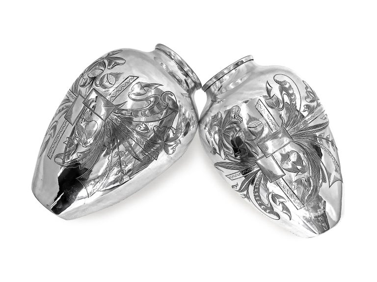 Artisan Old Unique Vase Hand Engraved Delicately, One Pair For Sale
