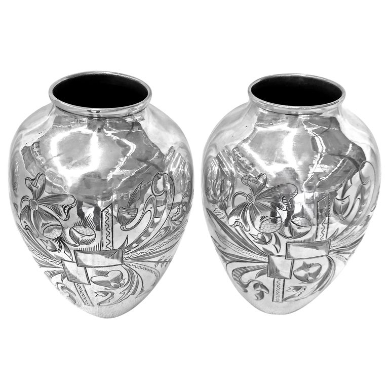 Old Unique Vase Hand Engraved Delicately, One Pair For Sale