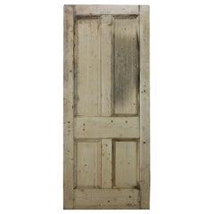 Old Victorian Four Beaded Panel Pine Door, 20th Century