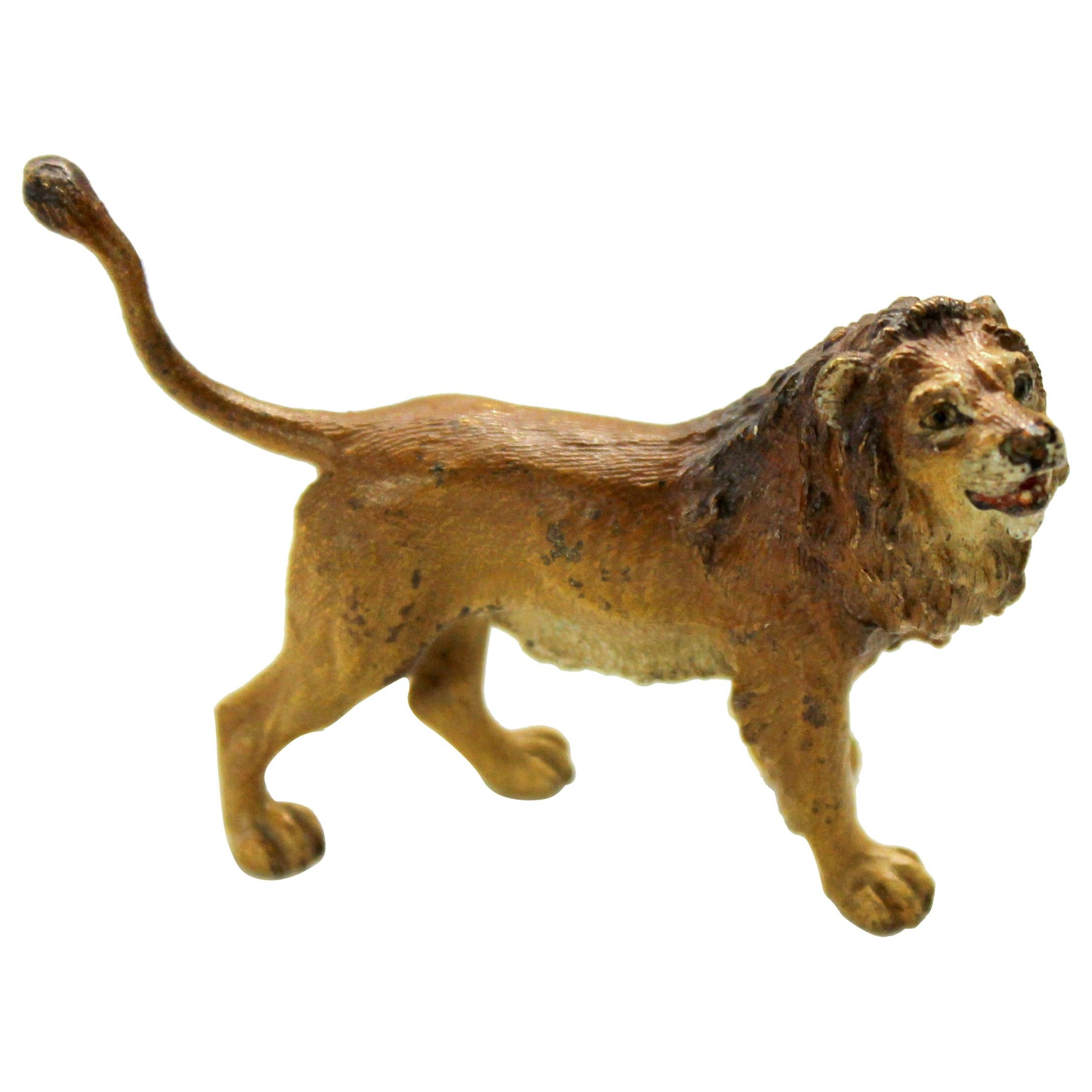 Old Vienna Bronze Cold-painted Figure of a small Lion, Franz Bergmann