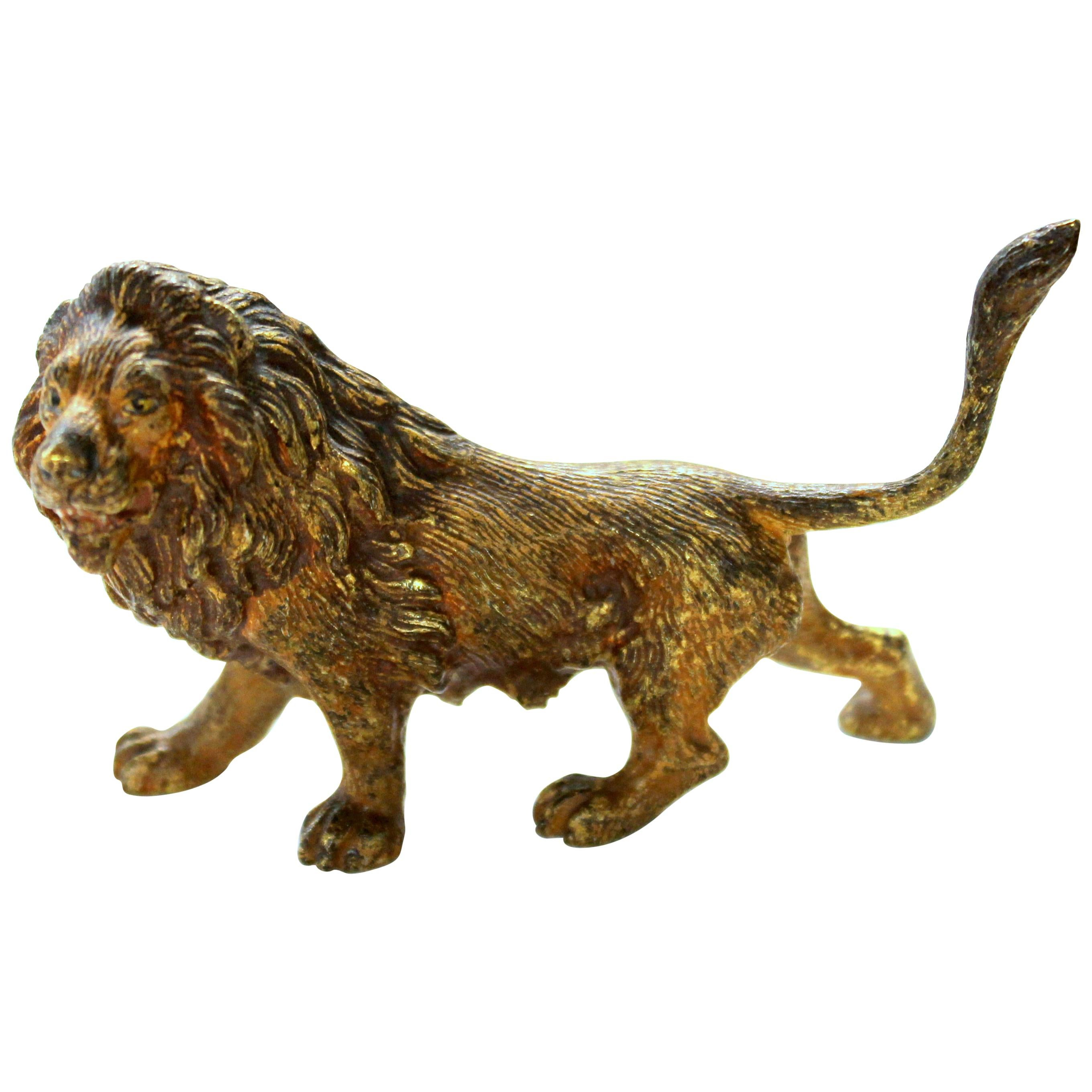 Old Vienna Cold Painted Bronze Figure of a Small Lion, Signed Franz Bergmann
