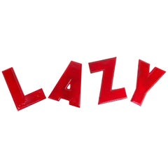 """Old Vintage Aluminum Marquee Movie Theater Letters Spells """"LAZY"""""""