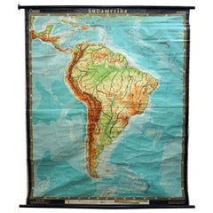 Old Vintage Look Pull Down Map Wall Chart Poster South America