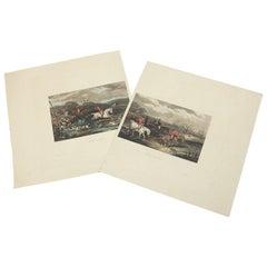 Old W J Shayer Fox Hunting Scene Prints, 20th Century