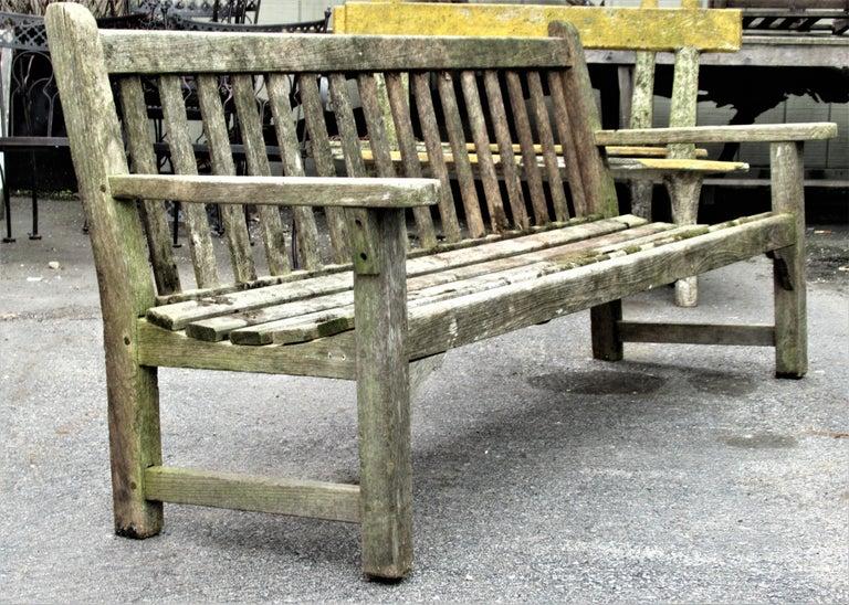 Old Weathered Teak Slat Back Long Garden Bench For Sale 7