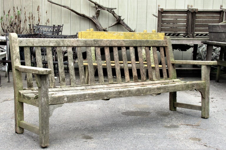 Old Weathered Teak Slat Back Long Garden Bench In Good Condition For Sale In Rochester, NY